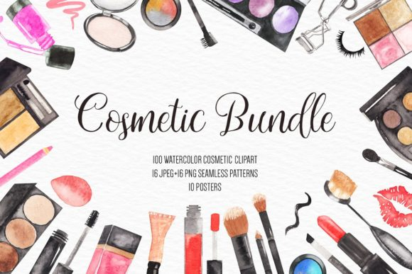 Watercolor Fashion Makeup Bundle Graphic Illustrations By BonaDesigns - Image 12