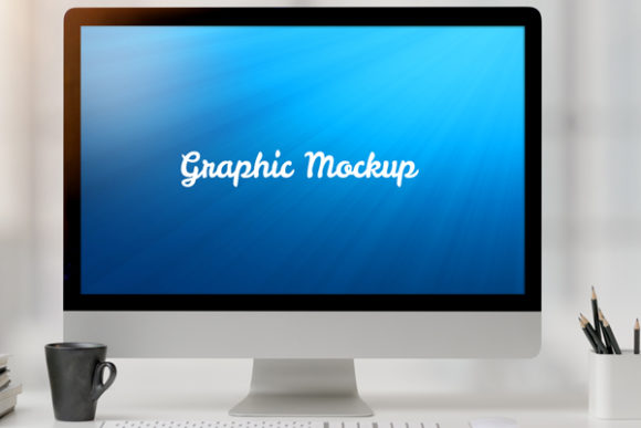 Computer Mockup with Vlack Cup and Pen Graphic Graphic Templates By knou