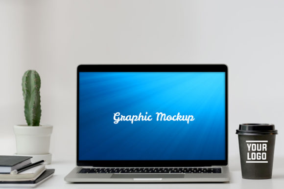 Download Free Notebook Mockup With Cactus And Coffe Grafico Por Knou SVG Cut Files