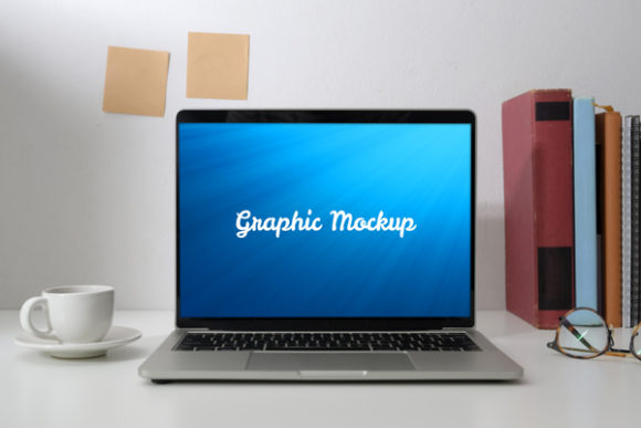 Notebook Mockup with Glasses and Cup Graphic Graphic Templates By knou - Image 1