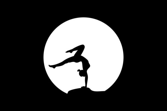 Download Free Yoga Pose In The Moon Logo Vector Graphic By Artpray Creative for Cricut Explore, Silhouette and other cutting machines.