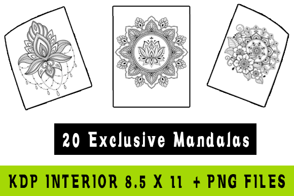 20 Mandalas Graphic Coloring Pages & Books Adults By futurecreationsshop