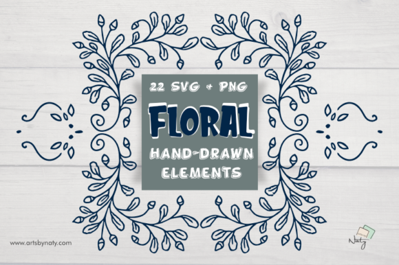 Print on Demand: 22 Floral Hand-drawn Elements. Graphic Illustrations By artsbynaty