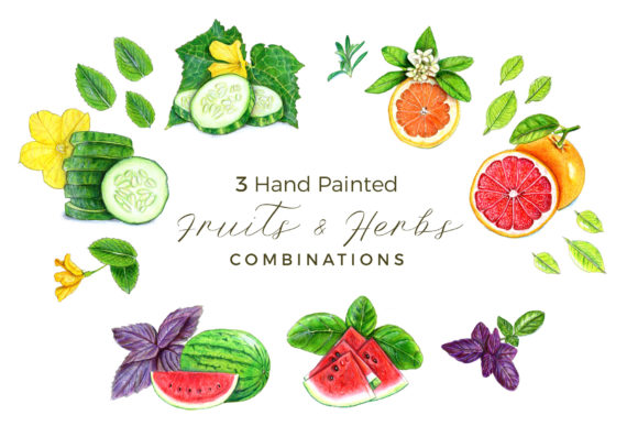 3 Hand-Painted Fruits & Herbs Combos Graphic Illustrations By Miriam Figueras Illustration