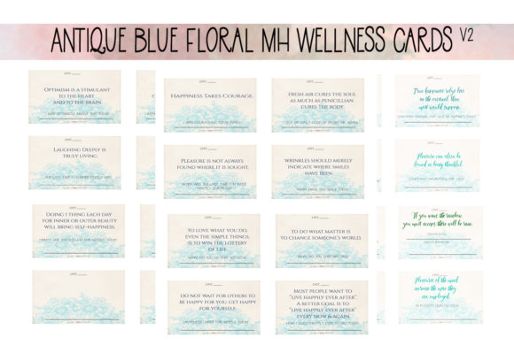 Print on Demand: Aged Blue Floral MH Cards  V2 Graphic Print Templates By capeairforce