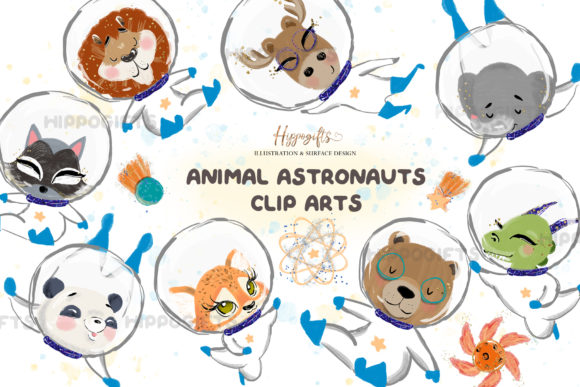 Animal Astronauts Cliparts Graphic Illustrations By Hippogifts - Image 1