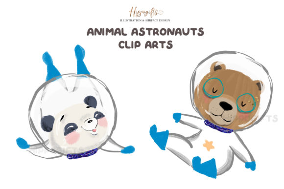 Animal Astronauts Cliparts Graphic Illustrations By Hippogifts - Image 2