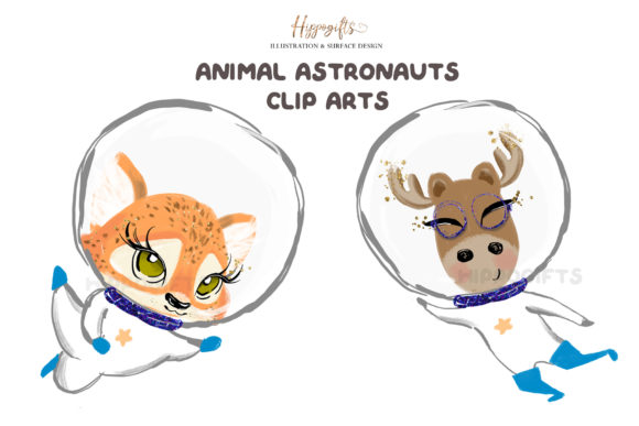 Animal Astronauts Cliparts Graphic Illustrations By Hippogifts - Image 3