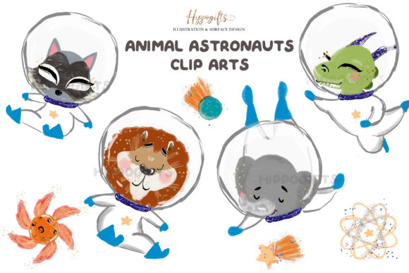 Animal Astronauts Cliparts Graphic Illustrations By Hippogifts - Image 4