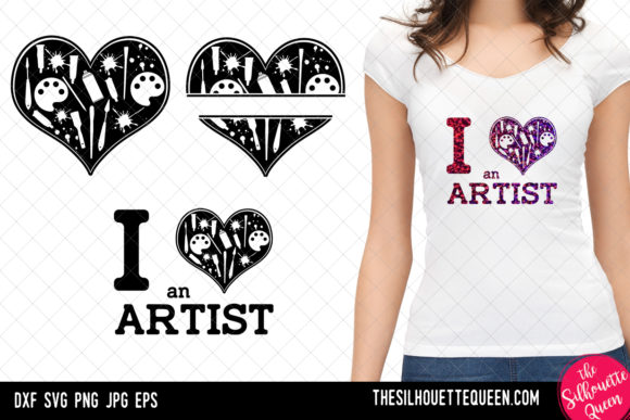 Download Free Artist Heart Valentines Day Graphic By Thesilhouettequeenshop for Cricut Explore, Silhouette and other cutting machines.