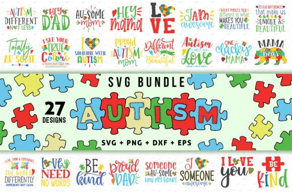 Download Free 3 Autism Svg Bundle Designs Graphics for Cricut Explore, Silhouette and other cutting machines.