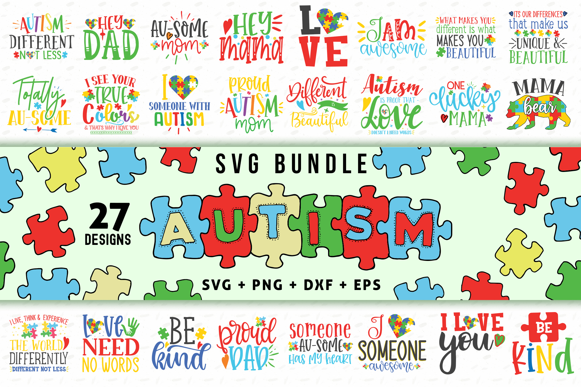 Download Free Autism Bundle Graphic By Subornastudio Creative Fabrica for Cricut Explore, Silhouette and other cutting machines.