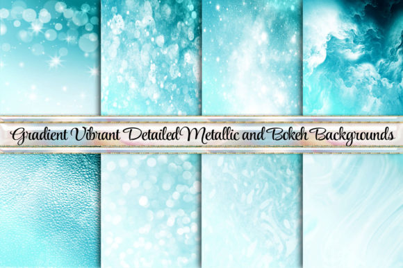 Print on Demand: Beautiful Bokeh Gradient Metallic Ombre Graphic Backgrounds By AM Digital Designs