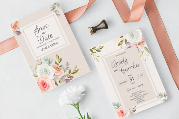 Download Free Elegant Wedding Invitation With Floral Graphic By Dinomikael01 for Cricut Explore, Silhouette and other cutting machines.