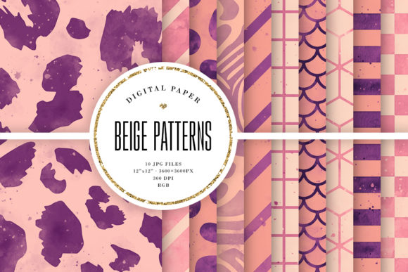 Print on Demand: Beige Digital Paper, Watercolor Patterns Graphic Backgrounds By Sabina Leja