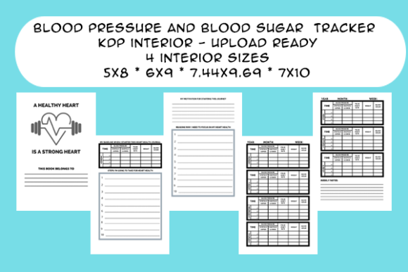 Download Free Blood Pressure Blood Sugar Tracker Kdp Graphic By Designs By for Cricut Explore, Silhouette and other cutting machines.