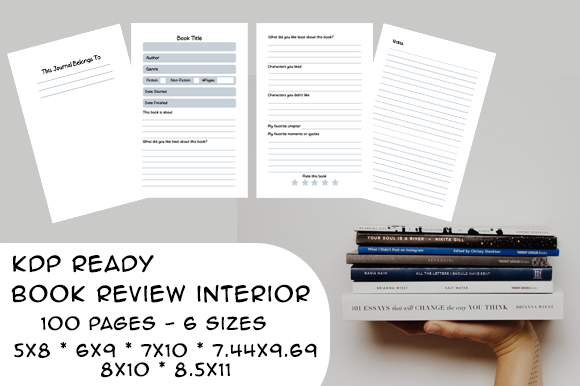 Print on Demand: Book Review Interior KDP Ready 6 Sizes Graphic KDP Interiors By Designs By David