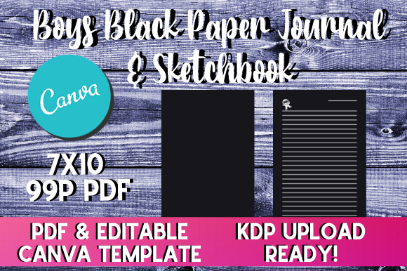 Print on Demand: Boys Black Paper Sketchbook / Journal KDP Grafik KPD Innenseiten von InteriorTastic