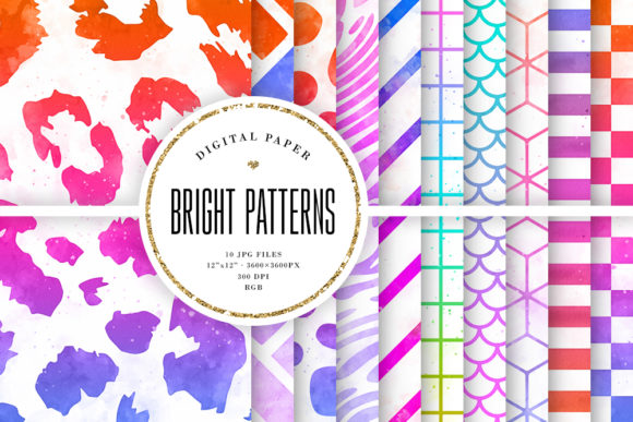 Print on Demand: Bright Watercolor Ombre Patterns Graphic Backgrounds By Sabina Leja