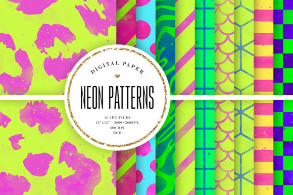Print on Demand: Bright Watercolor Patterns - Neon Colors Graphic Backgrounds By Sabina Leja