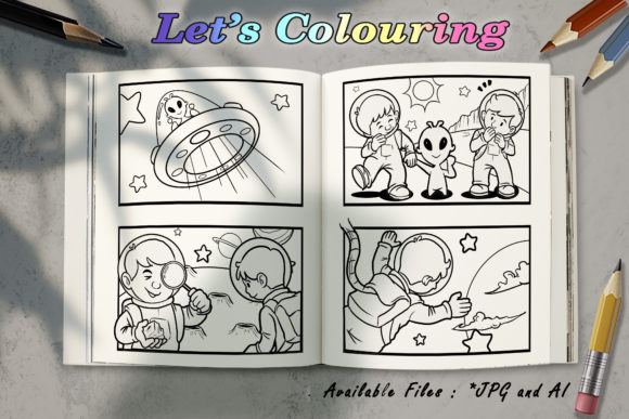 Download Free Coloring Book Astronaut And Alien Grafico Por Bunny Book for Cricut Explore, Silhouette and other cutting machines.