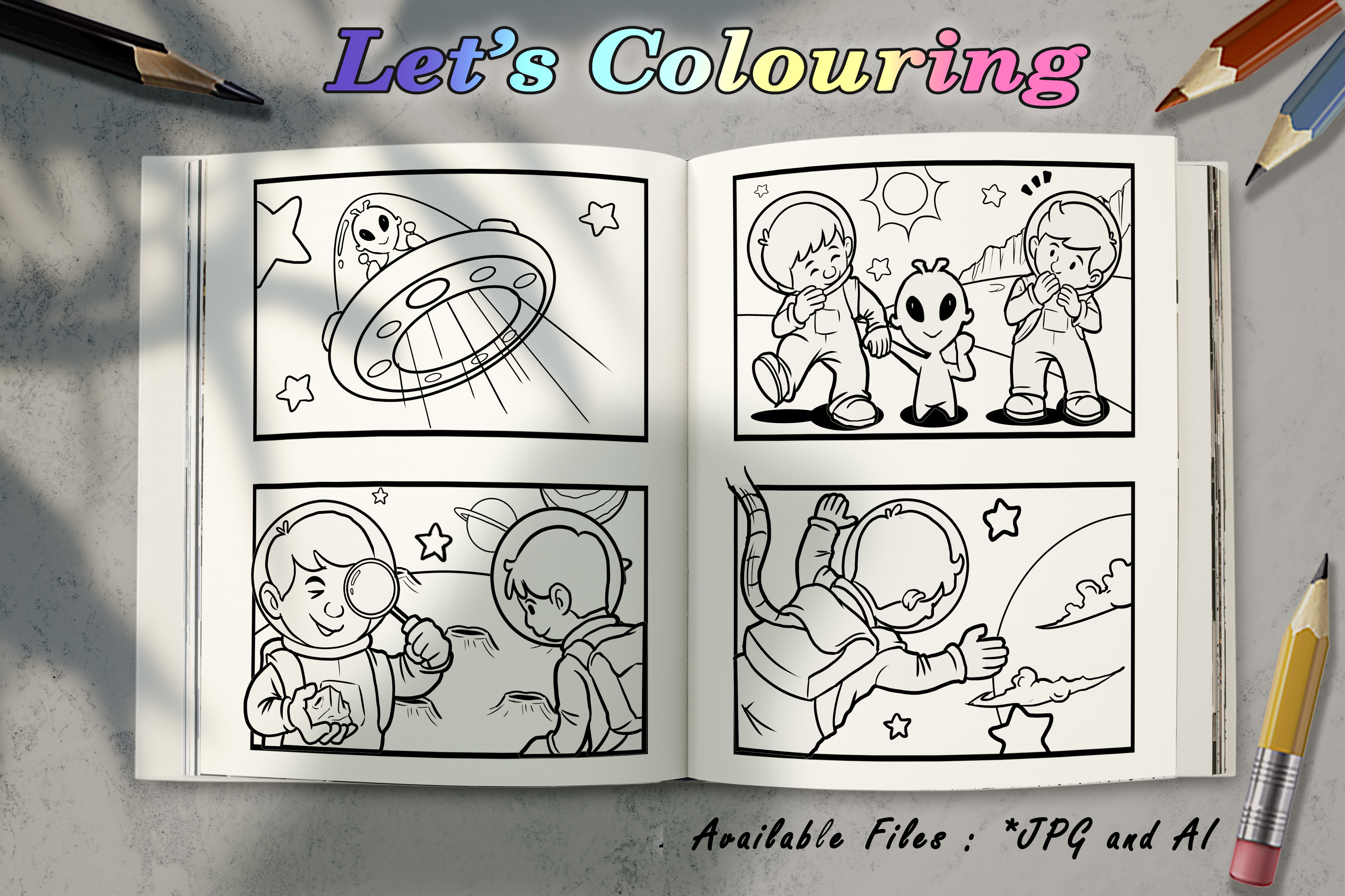 Download Free Coloring Book Astronaut And Alien Graphic By Bunny Book for Cricut Explore, Silhouette and other cutting machines.