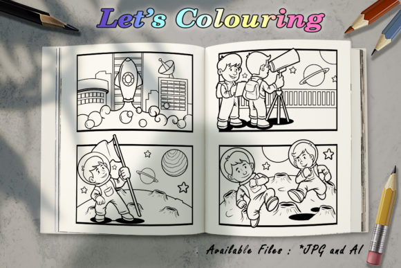 Coloring Book - Astronaut in Moon Graphic Coloring Pages & Books Kids By BUNNY BOOK