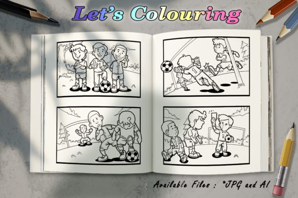 Download Free Coloring Book Kids Football Graphic By Bunny Book Creative for Cricut Explore, Silhouette and other cutting machines.