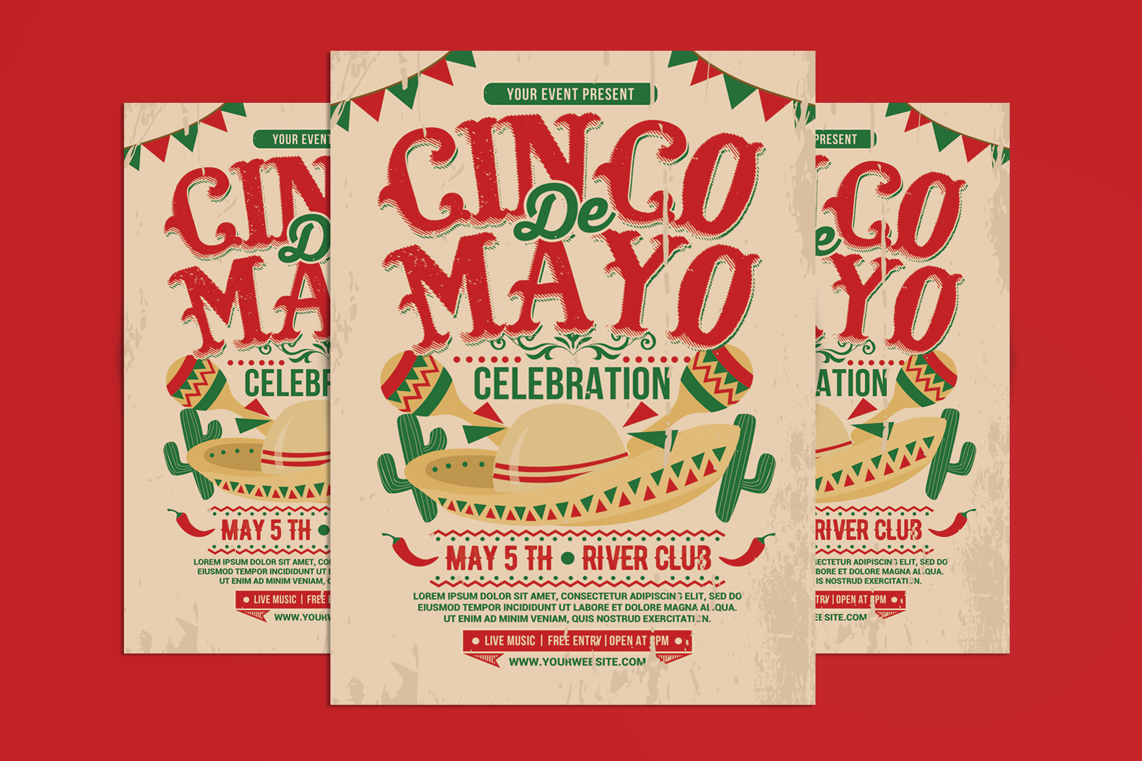 Download Free Cinco De Mayo Flyer Graphic By Muhamadiqbalhidayat Creative for Cricut Explore, Silhouette and other cutting machines.