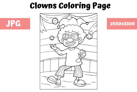 Coloring Book Page Clown For Kids Grafico Por Mybeautifulfiles