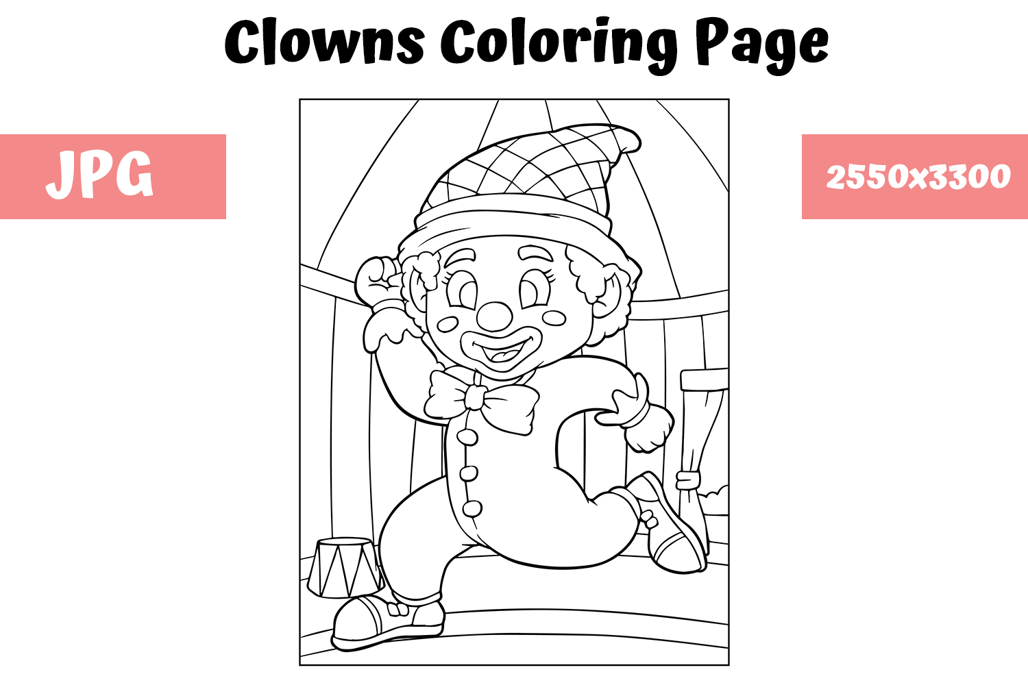 Download Free Coloring Book Page Clown For Kids Grafico Por Mybeautifulfiles for Cricut Explore, Silhouette and other cutting machines.