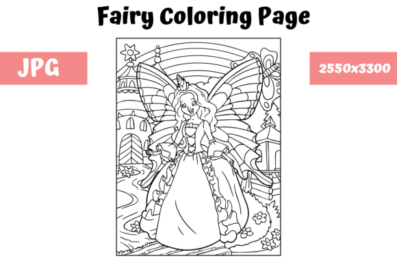Print on Demand: Coloring Book Page Fairy for Kids Graphic Coloring Pages & Books Kids By MyBeautifulFiles