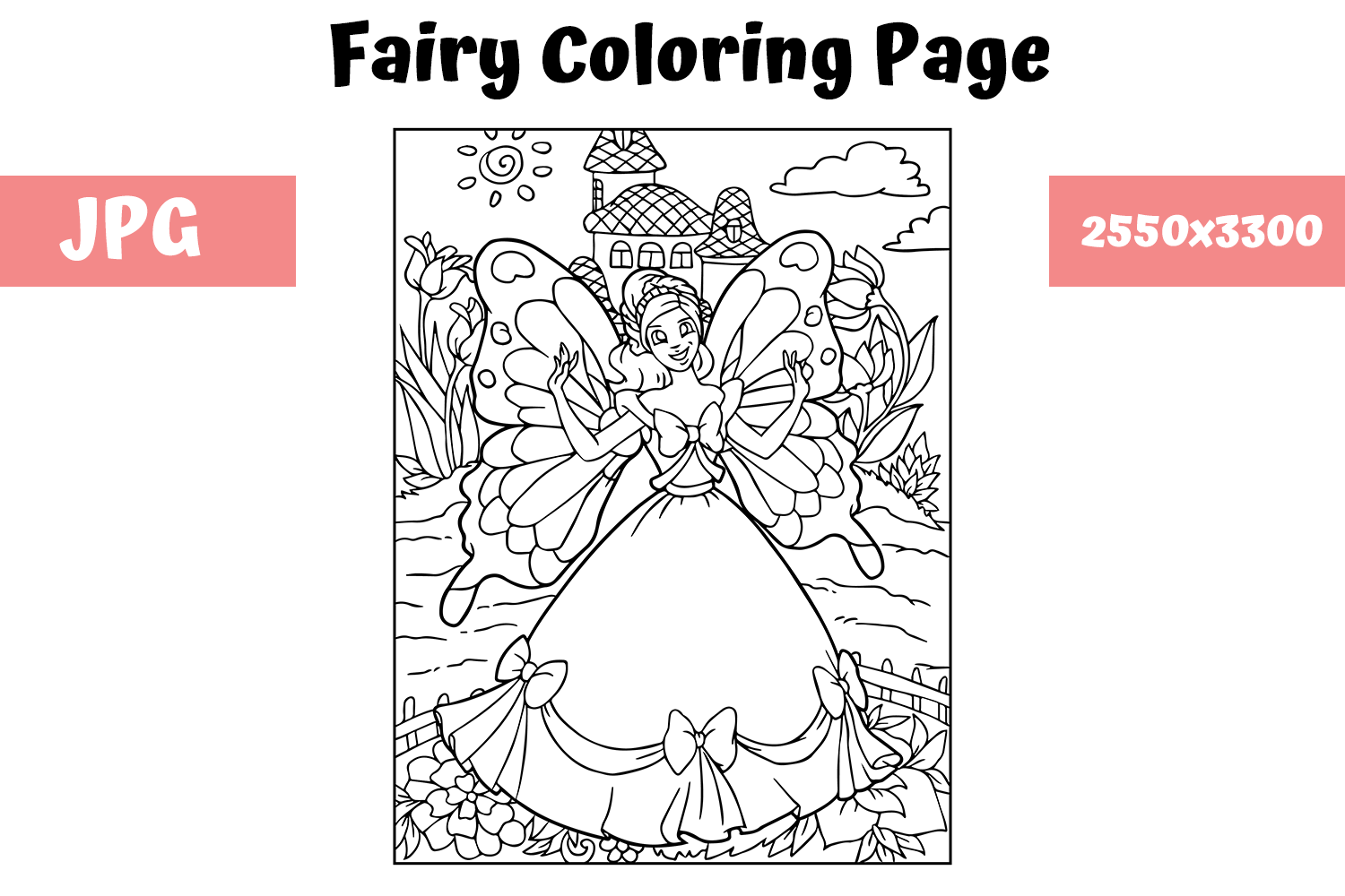 - Coloring Book Page Fairy For Kids (Graphic) By MyBeautifulFiles