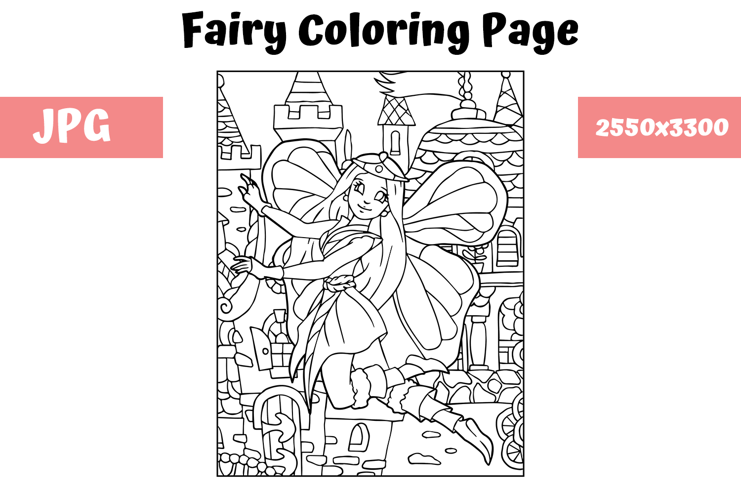 Coloring Book Page Fairy for Kids (Grafik) von MyBeautifulFiles ... | 1000x1500