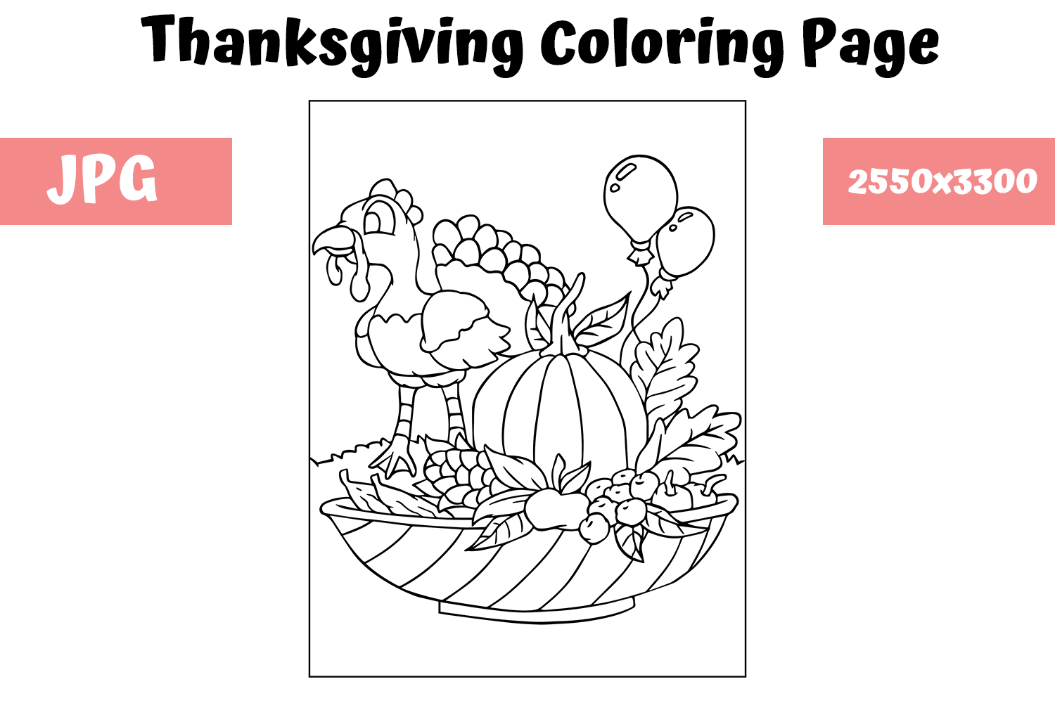 - Coloring Book Page Thanksgiving (Graphic) By MyBeautifulFiles