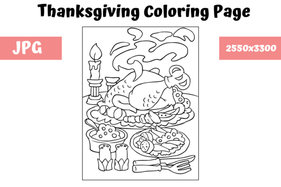 Coloring Book Page Thanksgiving (Graphic) By MyBeautifulFiles · Creative  Fabrica