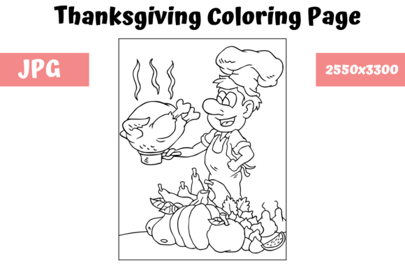 Print on Demand: Coloring Book Page Thanksgiving Graphic Coloring Pages & Books Kids By MyBeautifulFiles