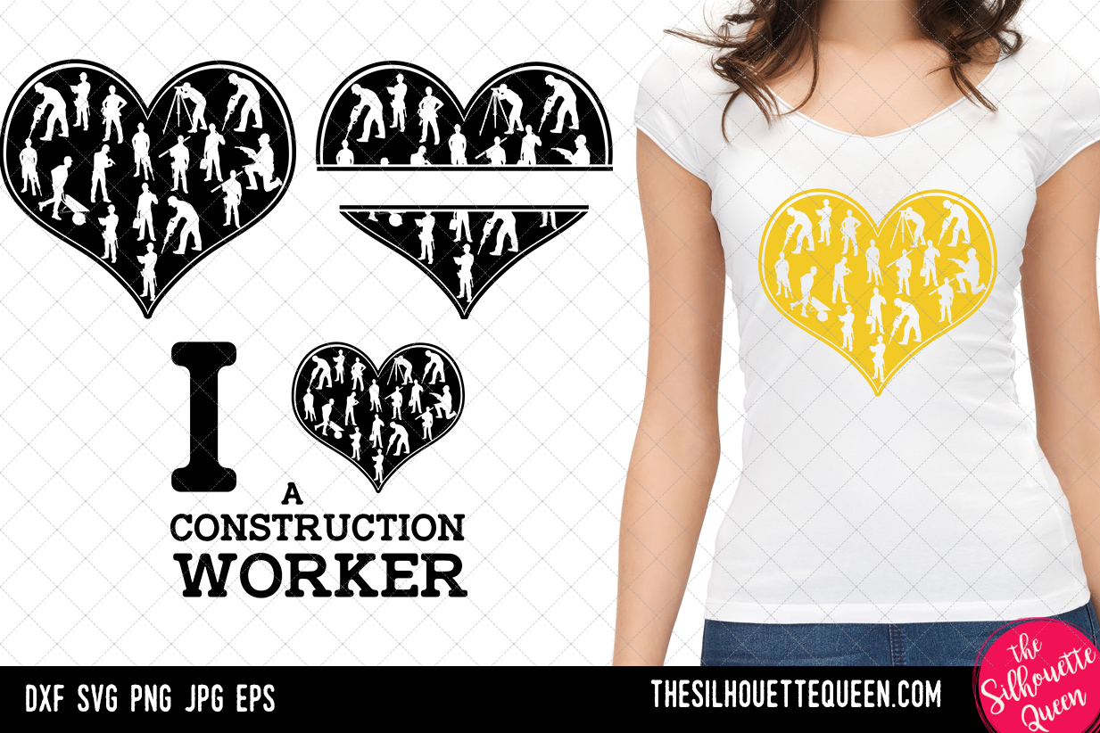 Download Free Construction Worker Heart Svg Graphic By Thesilhouettequeenshop SVG Cut Files