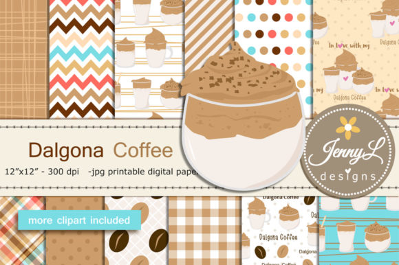Download Free Dalgona Coffee Digital Papers Clipart Graphic By for Cricut Explore, Silhouette and other cutting machines.