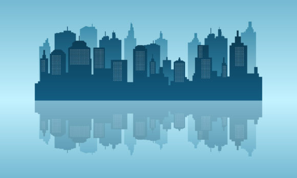 Download Free Daylight Of City Reflection In The Lake Graphic By Cityvector91 for Cricut Explore, Silhouette and other cutting machines.