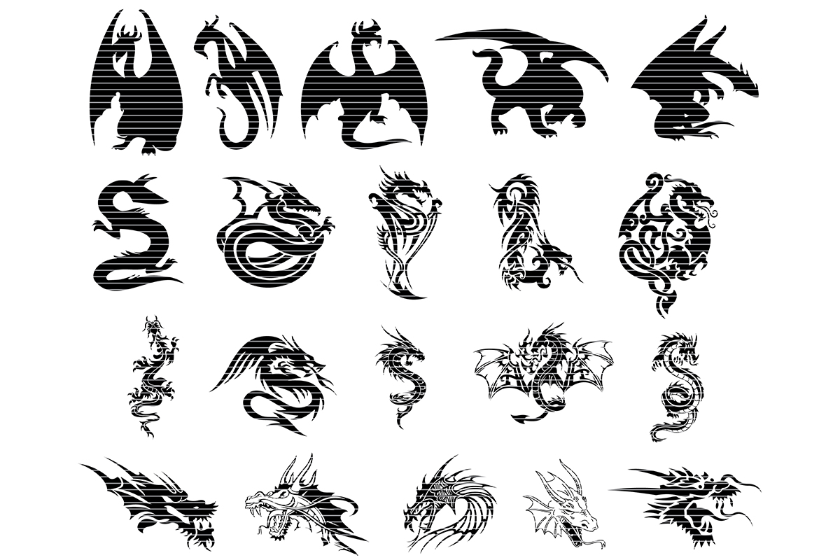 Download Free Dragon Silhouette Clip Art Bundle Graphic By Meshaarts for Cricut Explore, Silhouette and other cutting machines.