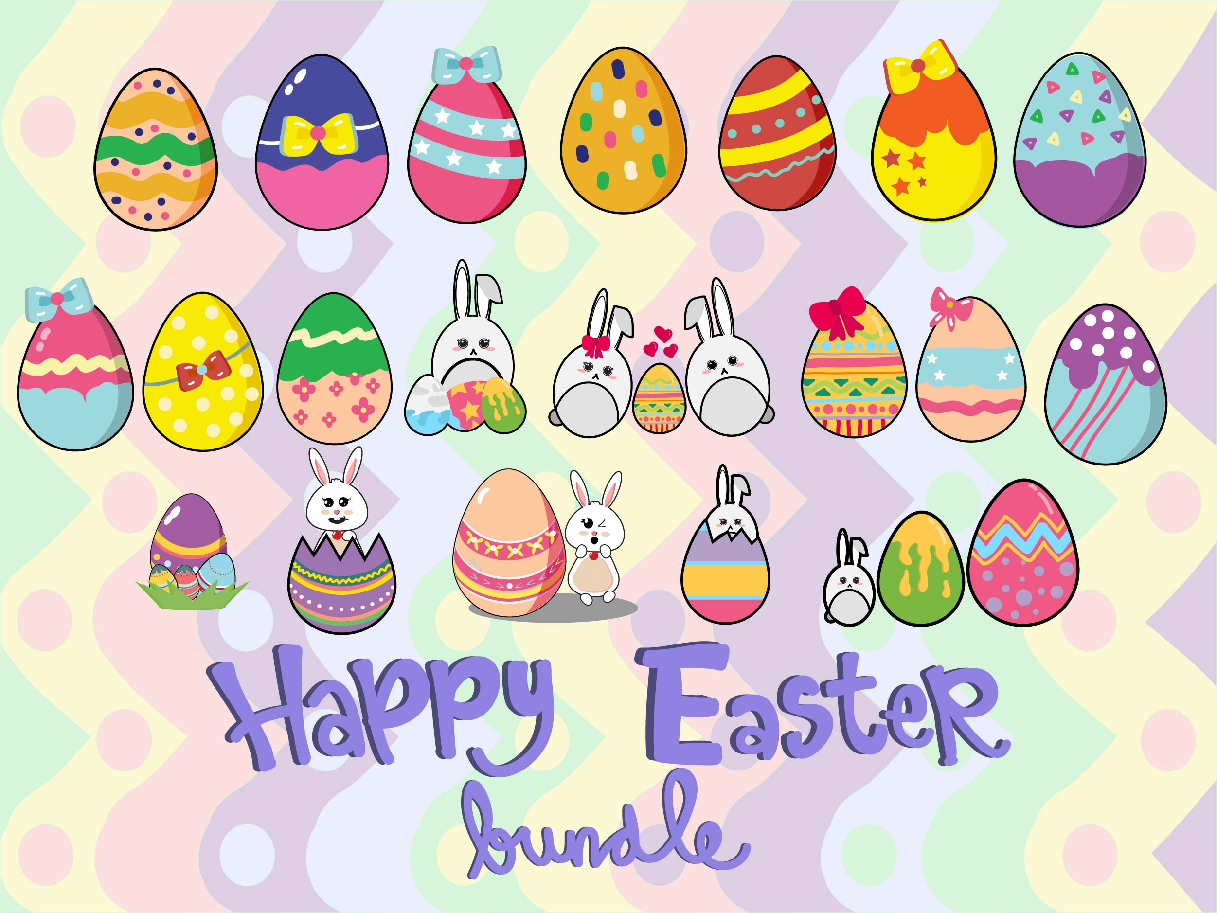 Download Free Easter Bunny Egg Bundle Graphic By Purplebubble Creative Fabrica for Cricut Explore, Silhouette and other cutting machines.