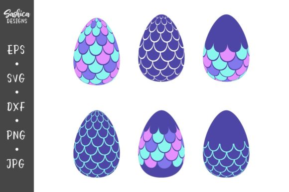 Easter Eggs with Mermaid Scales   Graphic Crafts By sashica designs