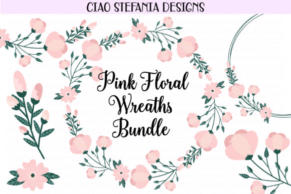 Floral Pink Peony Wreaths Bundle Graphic Illustrations By ciaostefaniadigital