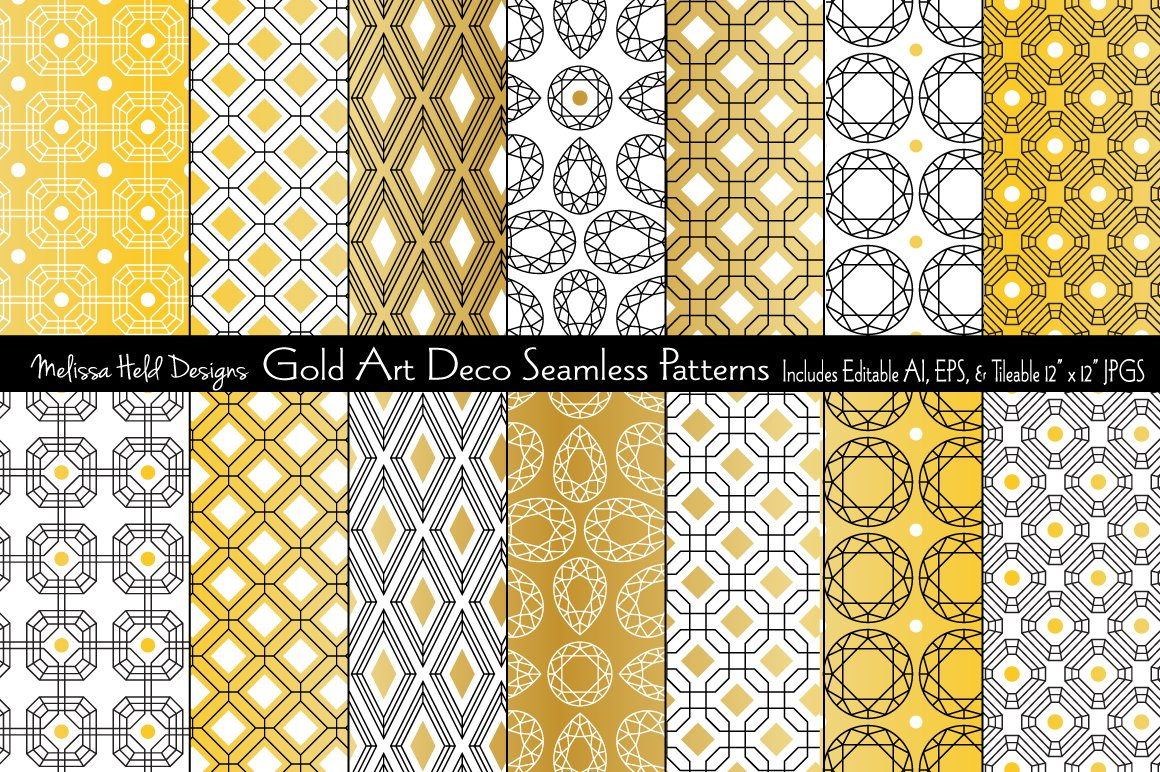 Download Free Gold Art Deco Seamless Patterns Grafico Por Melissa Held Designs for Cricut Explore, Silhouette and other cutting machines.