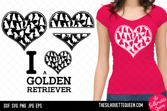 Golden Retriever Heart SVG, Valentines D Graphic Crafts By thesilhouettequeenshop