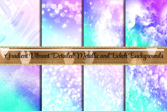 Print on Demand: Gorgeous Gradient Bokeh Metallic Purple Graphic Backgrounds By AM Digital Designs