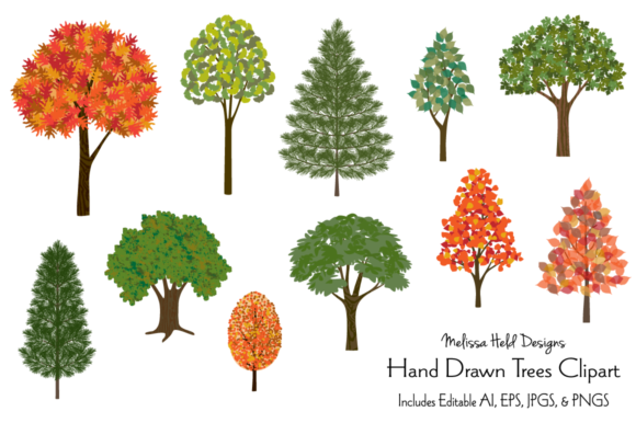 Hand Drawn Trees Clipart Graphic Illustrations By Melissa Held Designs