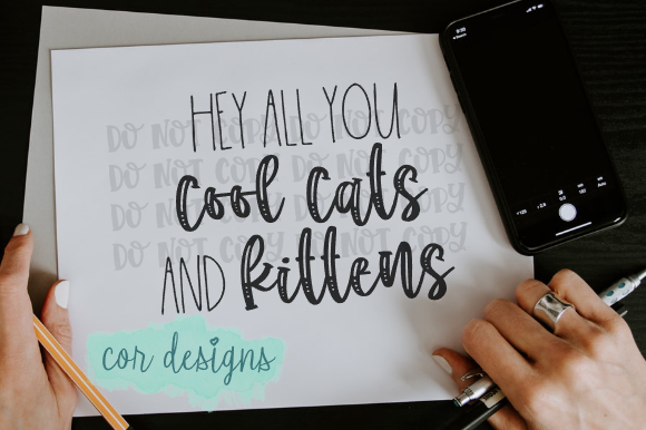 Download Free Hey All You Cool Cats And Kittens Graphic By Designscor for Cricut Explore, Silhouette and other cutting machines.