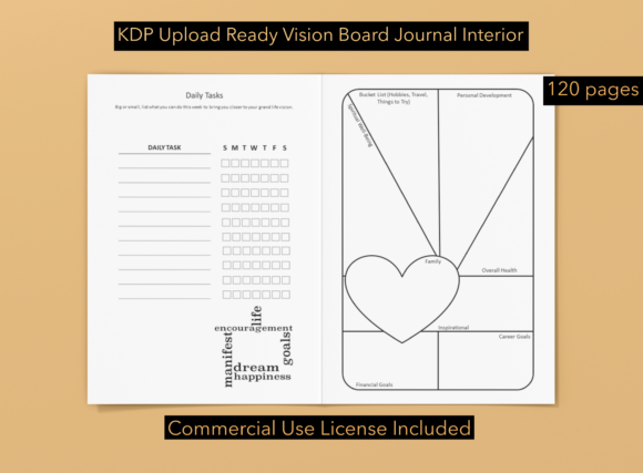 KDP Vision Board Journal #1 Graphic KDP Interiors By OmbreMedia